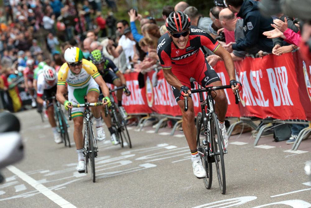 Philippe Gilbert attacks in the 2014 Amstel Gold Race